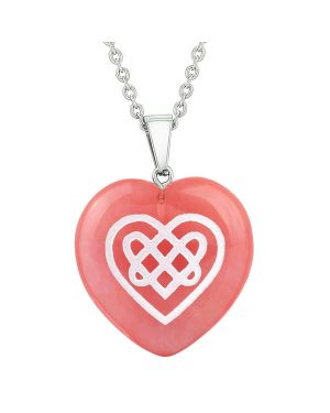 Amulet Celtic Shiled Knot Heart Power Energy Cherry Simulated Quartz Puffy Heart Pendant Necklace