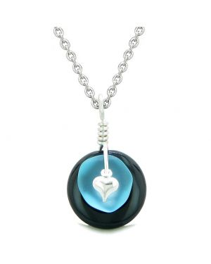 Sea Glass Sky Blue Heart Lucky Charm and Black Agate Coin Shaped Donut Magic Amulet 18 Inch Necklace