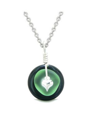 Sea Glass Mint Green Heart Lucky Charm and Black Agate Coin Shaped Donut Magic Amulet 22 Inch Necklace