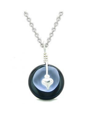 Sea Glass Pastel Purple Heart Lucky Charm and Black Agate Coin Shaped Donut Magic Amulet 18 Inch Necklace