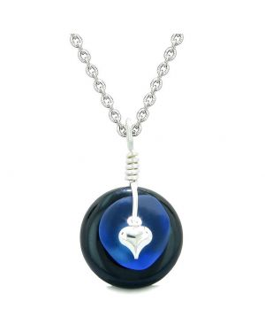 Sea Glass Ocean Blue Heart Lucky Charm and Black Agate Coin Shaped Donut Magic Amulet 18 Inch Necklace