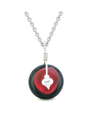 Sea Glass Royal Red Heart Lucky Charm and Black Agate Coin Shaped Donut Magic Amulet 18 Inch Necklace