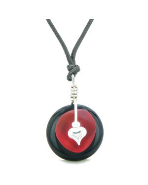 Sea Glass Royal Red Heart Lucky Charm and Black Agate Coin Shaped Donut Magic Amulet Adjustable Necklace