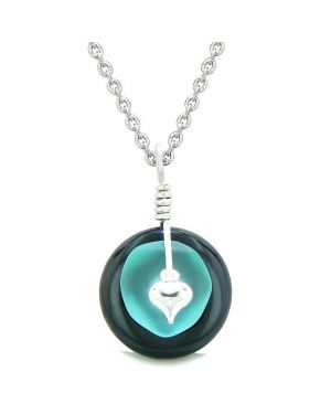 Sea Glass Aqua Blue Heart Lucky Charm and Black Agate Coin Shaped Donut Magic Amulet 22 Inch Necklace