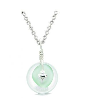 Sea Glass Mint Green Heart Lucky Charm and Crystal Quartz Coin Shaped Donut Magic Amulet 18 Inch Necklace