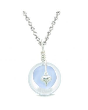 Sea Glass Pastel Purple Heart Lucky Charm and Crystal Quartz Coin Shaped Donut Magic Amulet 18 Inch Necklace
