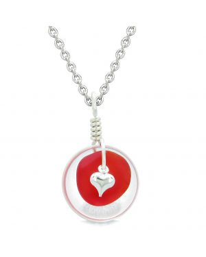 Sea Glass Royal Red Heart Lucky Charm and Crystal Quartz Coin Shaped Donut Magic Amulet 18 Inch Necklace