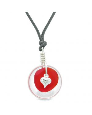 Sea Glass Royal Red Heart Lucky Charm and Crystal Quartz Coin Shaped Donut Magic Amulet Adjustable Necklace