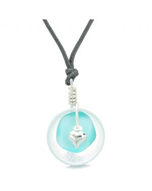 Sea Glass Aqua Blue Heart Lucky Charm and Crystal Quartz Coin Shaped Donut Magic Amulet Adjustable Necklace