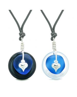 Sea Glass Yin Yang Love Couples BFF Set Ocean Blue Heart Crystal Quartz Black Agate Donut Amulet Necklaces