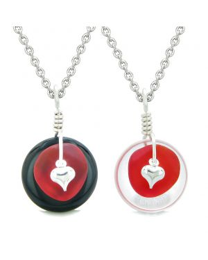 Sea Glass Yin Yang Love Couples BFF Set Royal Red Heart Black Agate Crystal Quartz Donut Amulet Necklaces