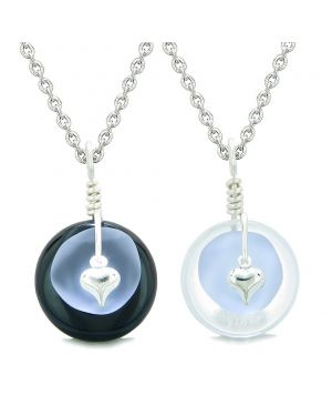 Sea Glass Yin Yang Love Couples BFF Set Pastel Purple Heart Black Agate Crystal Quartz Donut Amulet Necklaces