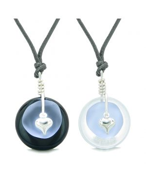 Sea Glass Yin Yang Love Couples BFF Set Pastel Purple Heart Crystal Quartz Black Agate Donut Amulet Necklaces