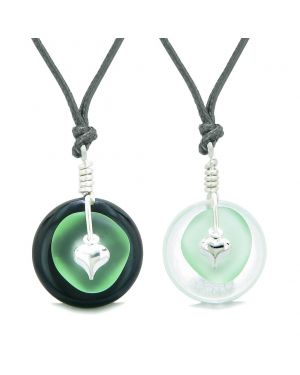 Sea Glass Yin Yang Love Couples BFF Set Mint Green Heart Crystal Quartz Black Agate Donut Amulet Necklaces