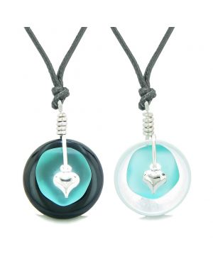 Sea Glass Yin Yang Love Couples BFF Set Aqua Blue Heart Crystal Quartz Black Agate Donut Amulet Necklaces