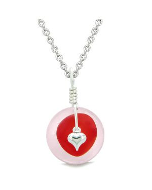 Sea Glass Royal Red Heart Lucky Charm and Rose Quartz Coin Shaped Donut Magic Amulet 18 Inch Necklace