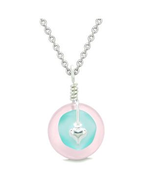 Sea Glass Aqua Blue Heart Lucky Charm and Rose Quartz Coin Shaped Donut Magic Amulet 22 Inch Necklace