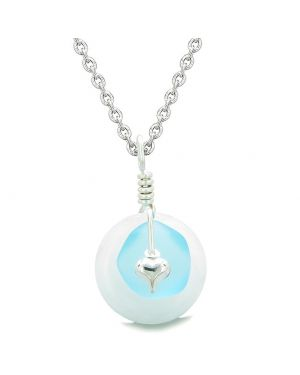 Sea Glass Sky Blue Heart Lucky Charm and White Quartz Coin Shaped Donut Magic Amulet 22 Inch Necklace