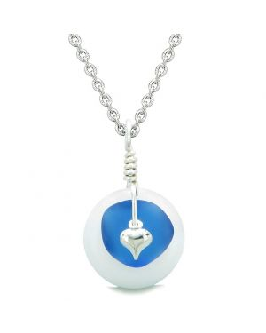 Sea Glass Ocean Blue Heart Lucky Charm and White Quartz Coin Shaped Donut Magic Amulet 22 Inch Necklace