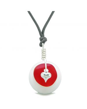 Sea Glass Royal Red Heart Lucky Charm and White Quartz Coin Shaped Donut Magic Amulet Adjustable Necklace