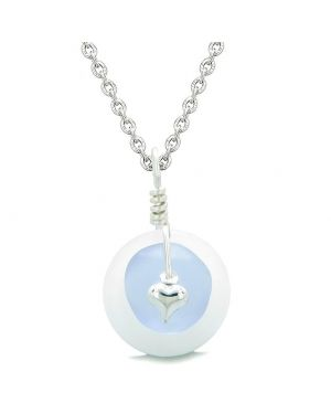 Sea Glass Pastel Purple Heart Lucky Charm and White Quartz Coin Shaped Donut Magic Amulet 22 Inch Necklace