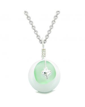 Sea Glass Mint Green Heart Lucky Charm and White Quartz Coin Shaped Donut Magic Amulet 18 Inch Necklace
