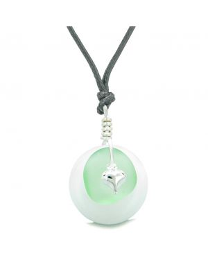 Sea Glass Mint Green Heart Lucky Charm and White Quartz Coin Shaped Donut Magic Amulet Adjustable Necklace