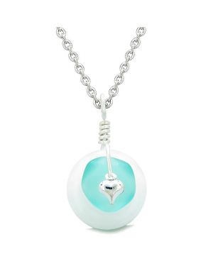 Sea Glass Aqua Blue Heart Lucky Charm and White Quartz Coin Shaped Donut Magic Amulet 22 Inch Necklace