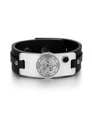 Archangel Samael Sigil Magic Powers Amulet Tag Simulated Black Onyx Black Leather Bracelet