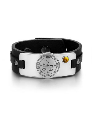 Archangel Samael Sigil Magic Powers Amulet Tag Tiger Eye Gemstone Adjustable Black Leather Bracelet