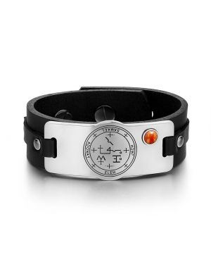 Archangel Samael Sigil Magic Powers Amulet Tag Red Jasper Gemstone Black Leather Bracelet