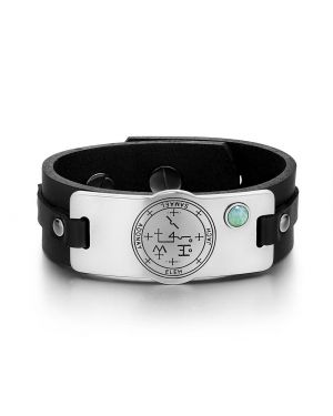 Archangel Samael Sigil Magic Powers Amulet Tag Green Quartz Gemstone Black Leather Bracelet