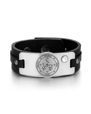 Archangel Samael Sigil Magic Powers Amulet Tag White Simulated Cats Eye Black Leather Bracelet