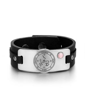 Archangel Samael Sigil Magic Powers Amulet Tag Pink Simulated Cats Eye Black Leather Bracelet