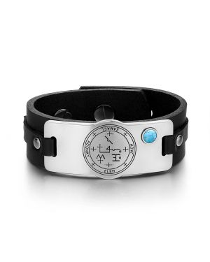 Archangel Samael Sigil Magic Powers Amulet Tag Simulated Turquoise Black Leather Bracelet