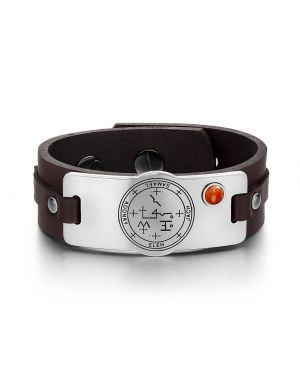 Archangel Samael Sigil Magic Powers Amulet Tag Red Jasper Gemstone Dark Brown Leather Bracelet