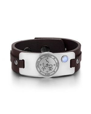 Archangel Samael Sigil Magic Powers Amulet Tag Blue Simulated Cats Eye Brown Leather Bracelet