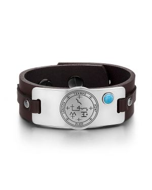Archangel Samael Sigil Magic Powers Amulet Tag Simulated Turquoise Dark Brown Leather Bracelet