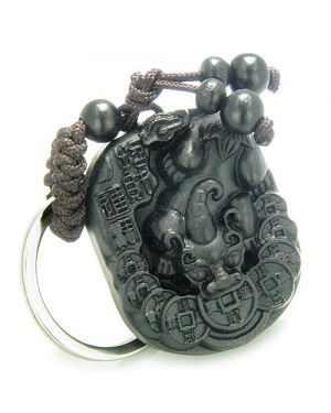 Amulet Sandal Wood Magic DragLucky Feng Shui Coin Good Luck Protection Powers Keychain Charm