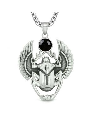 Amulet Egyptian Scarab Rebirth Spiritual Life Magic Powers Black Simulated Onyx Pendant Necklace