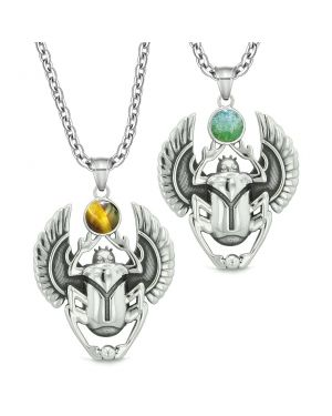 Scarab Egyptian Rebirth Spiritual Life Magic Amulets Love Couples Green Quartz Tiger Eye Necklaces