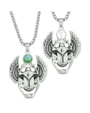 Scarab Egyptian Rebirth Spiritual Life Amulets Couples Set Green Quartz Simulated Cat Eye Necklaces