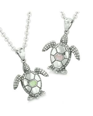 Amulets Love Couple or Best Friends Set Sea Turtles Lucky Charms Lime Green Pink Cats Eye Necklaces