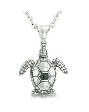 "Amulet Sea Turtle Cute Man Made Black Onyx Crystal Lucky Charm Pendant on 18"" Necklace"