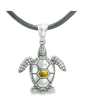 Amulet Sea Turtle Cute Tiger Eye Crystal Lucky Charm Pendant on Leather Cord Necklace