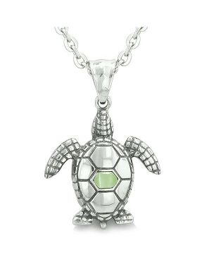 "Amulet Sea Turtle Cute Lime Green Cat's Eye Crystal Lucky Charm Pendant on 18"" Necklace"