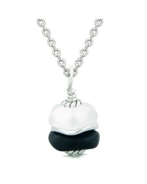 Sea Glass Icy Frosted Waves Double Lucky Black White Positive Energy Amulet Pendant 18 Inch Necklace