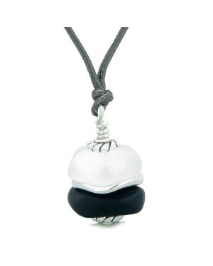 Sea Glass Icy Frosted Waves Double Lucky Black White Positive Energy Amulet Pendant Adjustable Necklace