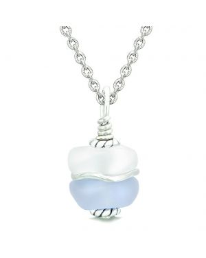 Sea Glass Icy Frosted Waves Double Lucky Purple White Positive Energy Amulet Pendant 22 Inch Necklace