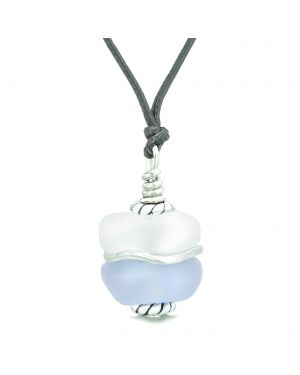Sea Glass Icy Frosted Waves Double Lucky Purple White Positive Energy Amulet Pendant Adjustable Necklace